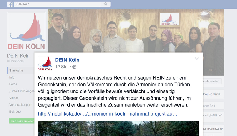 DEIN KÖLN, Mitglied im Integrationsrat der Stadt Köln, leugnet Völkermord an Armeniern